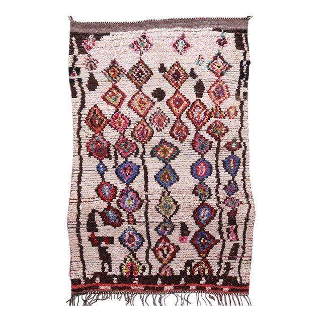 Hand Knotted Floral Geometric Moroccan - 4' X 7' For Sale