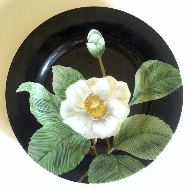 Late 20th Century Fitz & Floyd Japan Vintage Contemporary Modernist Floral Porcelain Dessert Plates - Set of 3 For Sale - Image 5 of 11