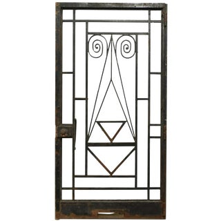 Antique French Art Deco Architectural Wrought Iron Door For Sale