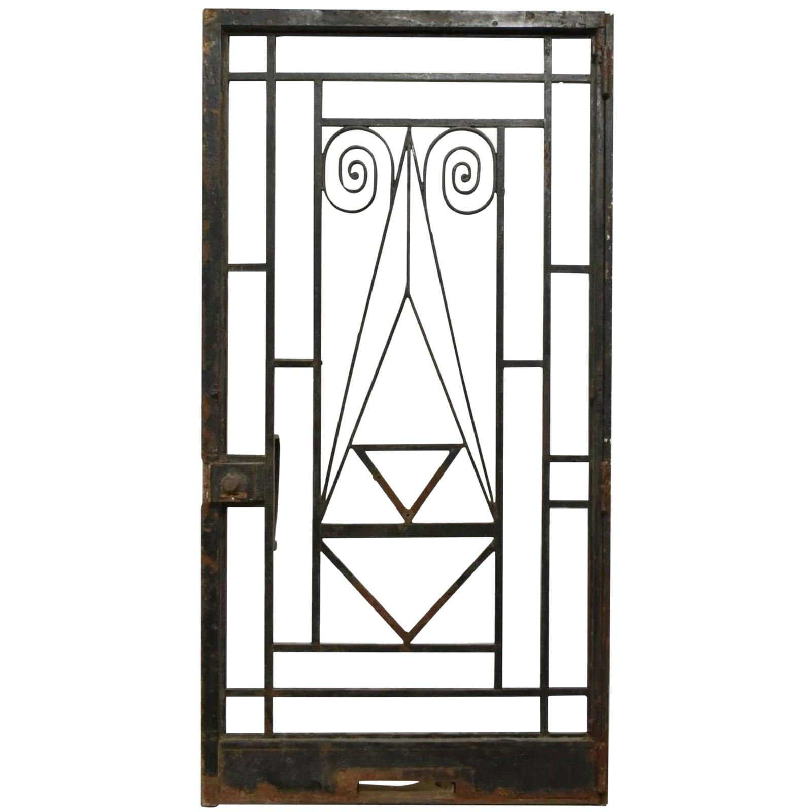 Chaise Style Art Nouveau antique french art nouveau / early art deco architectural wrought iron  openwork door