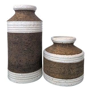 "Bitossi Raymor Aldo Londi Pottery ""Cork"" Brown White Vases - a Pair For Sale"