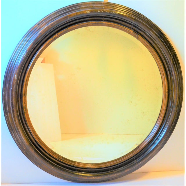 This is a beautiful vintage Baker Furniture round solid wood mirror from their Hildebran Milling Road collection. This...