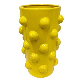 Contemporary Yellow Ceramic Bubble Vase For Sale
