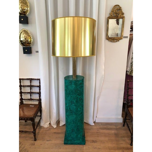 Piero Fornasetti Italian Faux Malachite Floor Lamp For Sale - Image 9 of 9