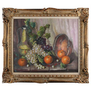 Vintage Spanish Oil on Canvas Still Life of Fruit & Wine by v. Lazaro For Sale