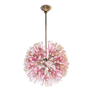 Midcentury Modern Glass, Chrome and Fuschia Enamel Chandelier by Rupert Nikoll For Sale