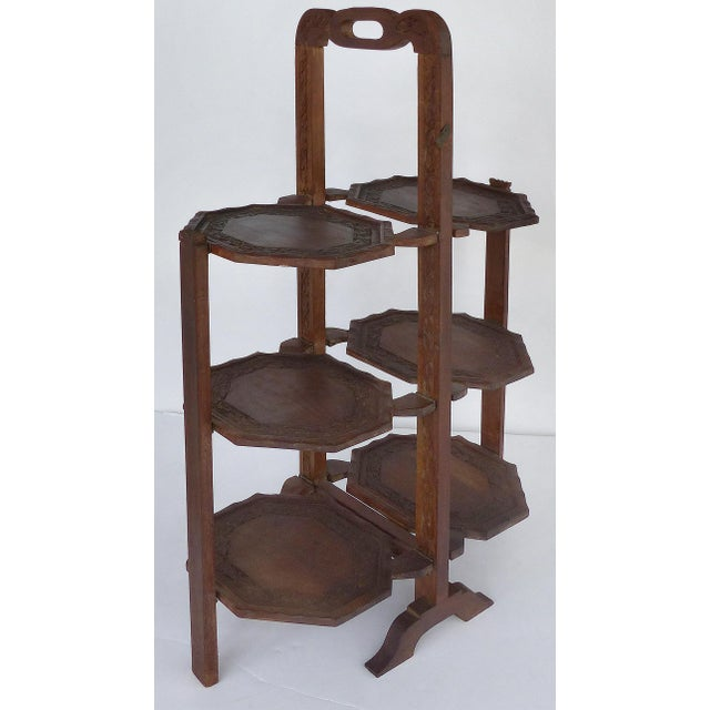 1900s Country Carved Wood Folding Serving Stand For Sale - Image 4 of 8