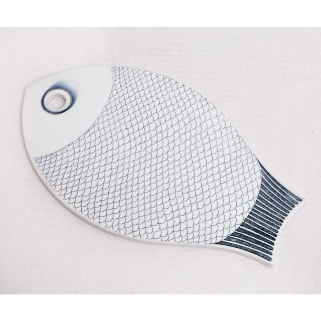 Mid 20th Century Midcentury Scandinavian Modern Ceramic Fish Trivet Coaster Dish Platter For Sale - Image 5 of 8
