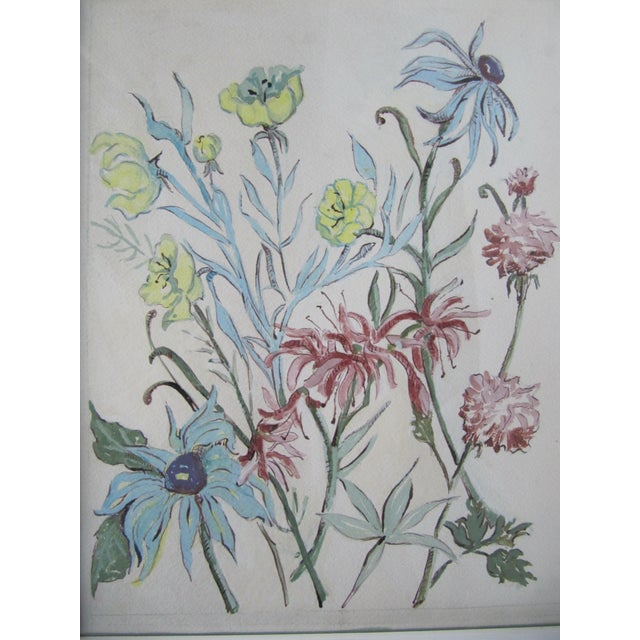 Vintage Acrylic Flower Painting For Sale - Image 6 of 7