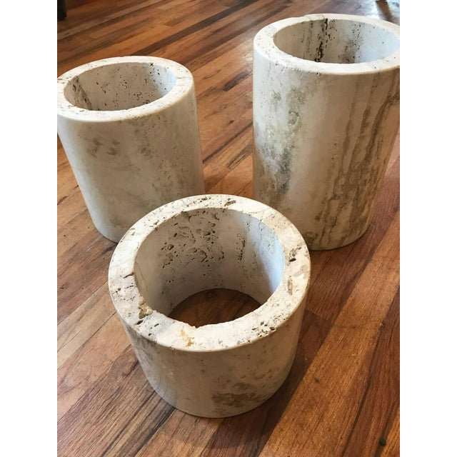 Set of Three Italian Square Travertine Coffee Table For Sale - Image 9 of 11