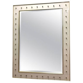 Monumental Italian Modern White Glass and Brass Ball Mirror For Sale