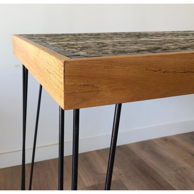 Transparent Vintage Wood Framed Tile Mosaic Sofa Table With Hairpin Legs For Sale - Image 8 of 13