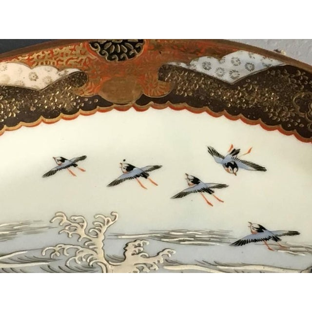 Japanese Meiji Period Kutani Fan Shaped Dishes, Set of Five For Sale - Image 9 of 10