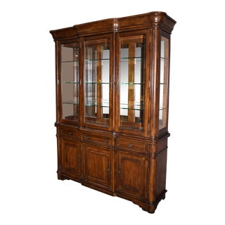1980s Traditional Two Piece Hooker Mahogany Lighted China Cabinet with Beveled Glass For Sale