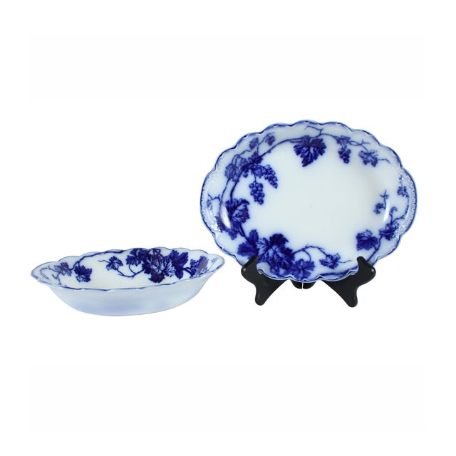 Flow Blue Warwick Bowl & Tray by Johnson Brothers - Image 1 of 4