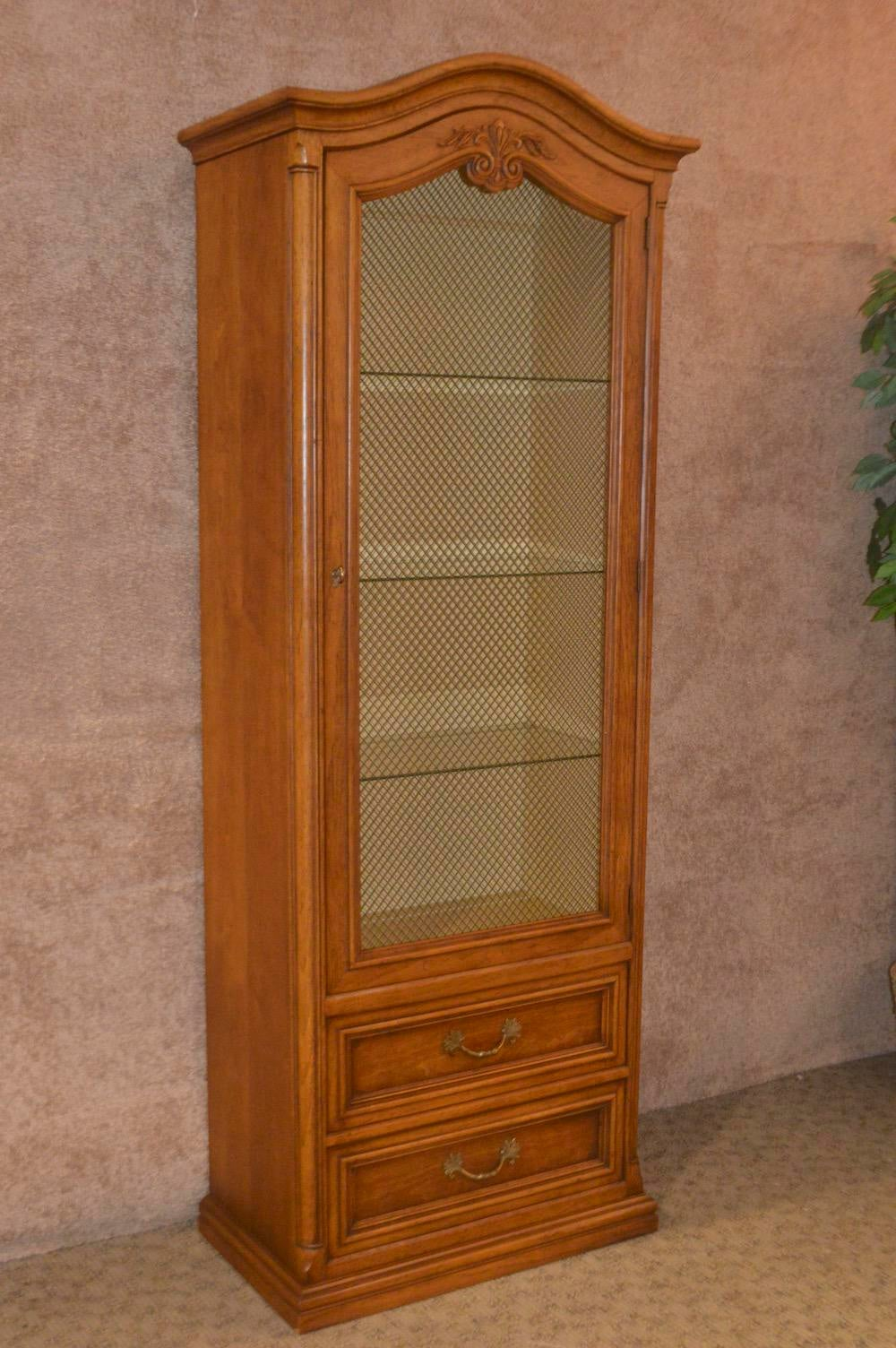 Curio/Display Cabinet Has A Metal Mesh Front Door Panel, Three Glass  Shelves,. Country Vintage Henredon Country French ...