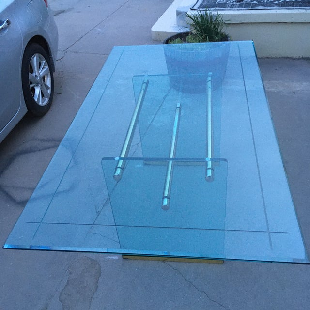 Metal Glass and Brass Mid-Century Modern Dining Table by Pace For Sale - Image 7 of 13