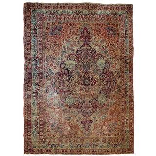 1880s Handmade Antique Persian Kerman Lavar Rug 9.3' X 11.8' For Sale