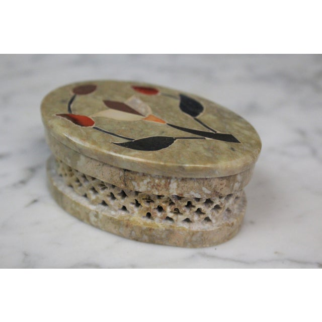 Traditional 1960s Vintage Soapstone Indian Box For Sale - Image 3 of 8