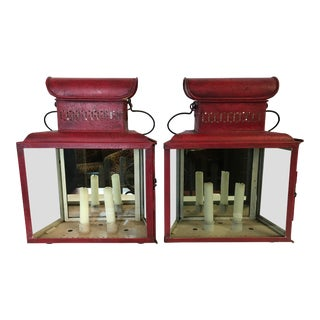 Antique Red Tole Lantern Sconces Candleholders - a Pair For Sale