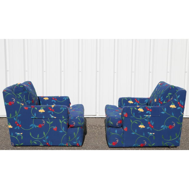 Crewel Embroidered Floral Strawberry Club Chairs - a Pair For Sale - Image 4 of 11