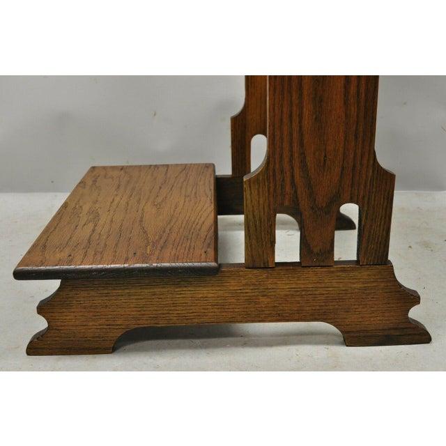 Early 20th Century Vintage Arts & Crafts Mission Oak Wood Prayer Kneeler Kneeling Bench Seat For Sale - Image 5 of 12