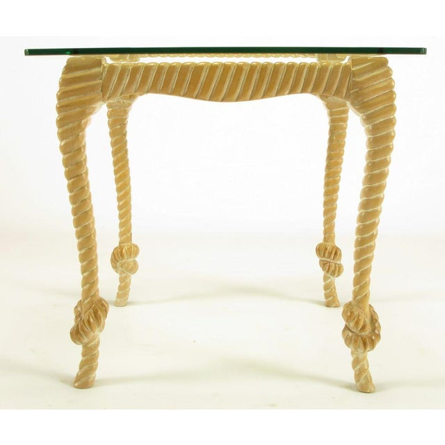 Carved & Limed Wood Knotted Rope End Table For Sale In Chicago - Image 6 of 8