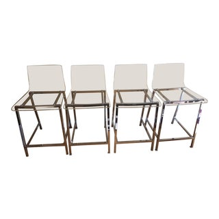 Cb2 Vapor Acrylic Bar Stools - Set of 4 For Sale