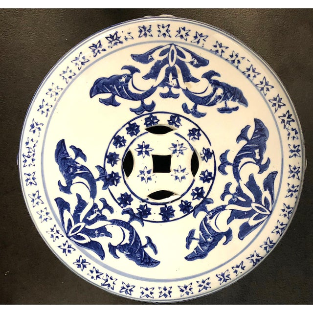 Chinese Blue/White Porcelain Garden Stool For Sale - Image 9 of 10