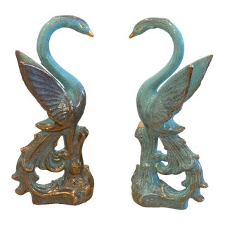 Vintage Hand Painted Ceramic Swans - a Pair For Sale
