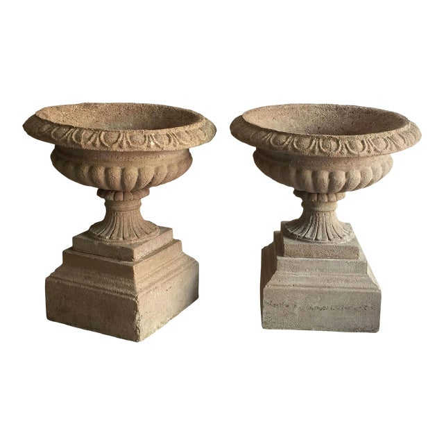 English Garden Stone Urns or Planters on Plinths - a Pair For Sale