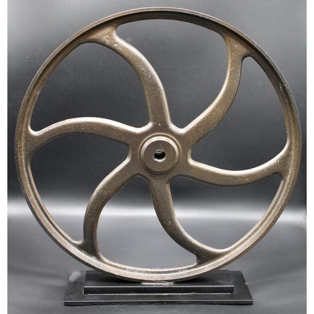Vintage Lathe Wheel on Custom Mount For Sale - Image 4 of 10