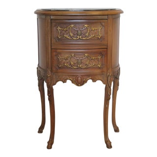 1940s Louis XV Fruitwood and Marble Two-Drawer Bedside Commode For Sale