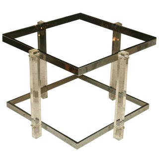 Lucite and Chrome Table, Charles Hollis Jones Style For Sale