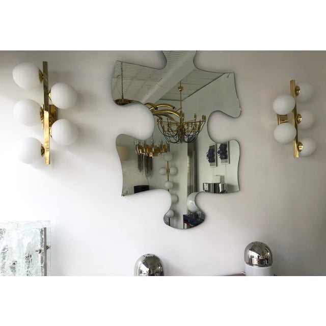 Metal Contemporary Brass Sconces Opaline Glass Ball, Italy For Sale - Image 7 of 11