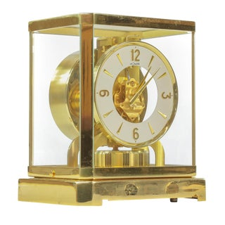 1960s Jaeger Le Coultre Swiss Perpetual Motion Brass Clock For Sale