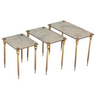 A Set of Three Brass Side Tables With Mirror Tops For Sale