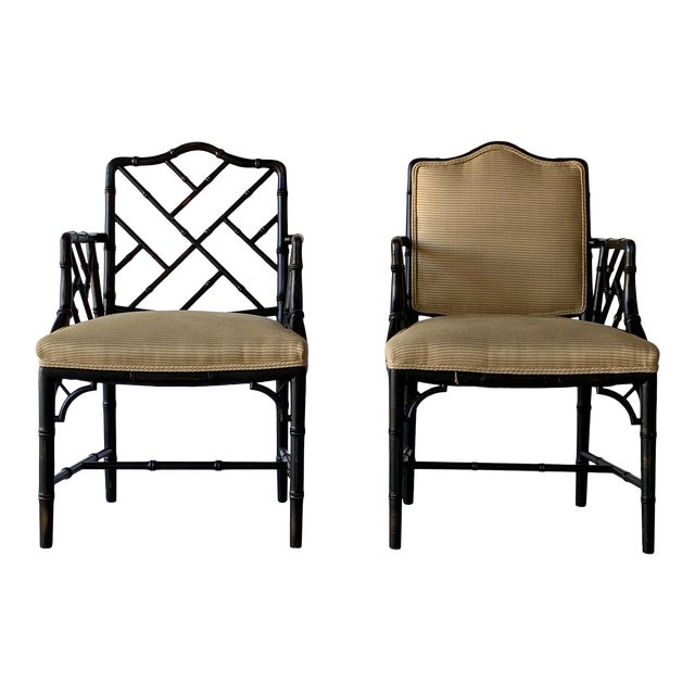 Mid 20th Century Faux Bamboo Regency Armchairs - a Pair For Sale