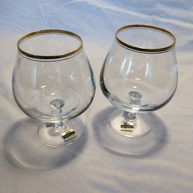 Crystal Gold Rim Brandy Snifters by Mikasa West Germany - a Pair - Image 10 of 11