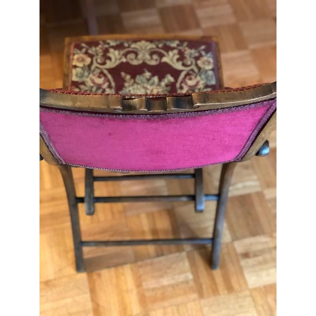 Red 1900s Antique Victorian Tapestry Folding Chair For Sale - Image 8 of 13