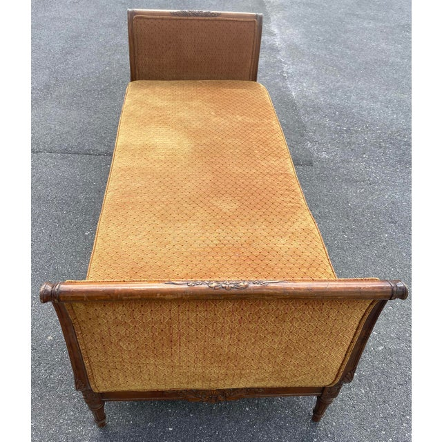 Wood 1940s French Walnut Sleigh Daybed For Sale - Image 7 of 12