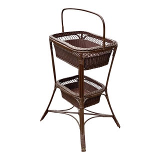 Vintage Victorian Wicker Rattan Basket Sewing Stand For Sale