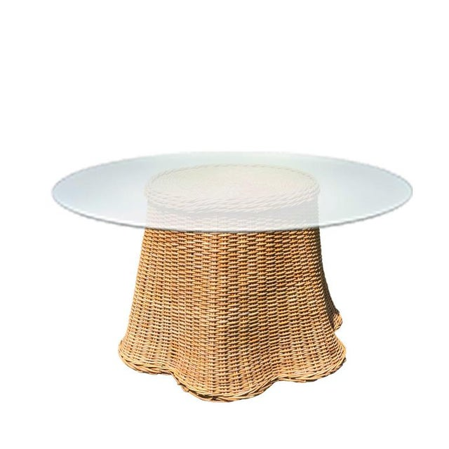Round Wicker Bamboo Rattan Trompe l'Oeil Ghost or Draped Lounge Set 3 Pieces 1970s For Sale - Image 4 of 12