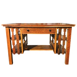 Antique Arts & Crafts Quartersawn Oak Partners Library Desk W/ Bookshelf Sides For Sale