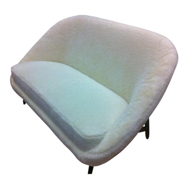 Theo Ruth for Artifort 1950s Couch Newly Reupholstered in Wool Faux Fur For Sale