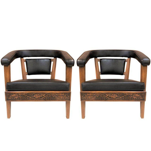 Black Pair of Romweber Carved Oak Lounge Chairs For Sale - Image 8 of 8