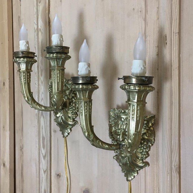 Pair Antique Bronze Bacchus Electrified Wall Sconces For Sale - Image 12 of 13