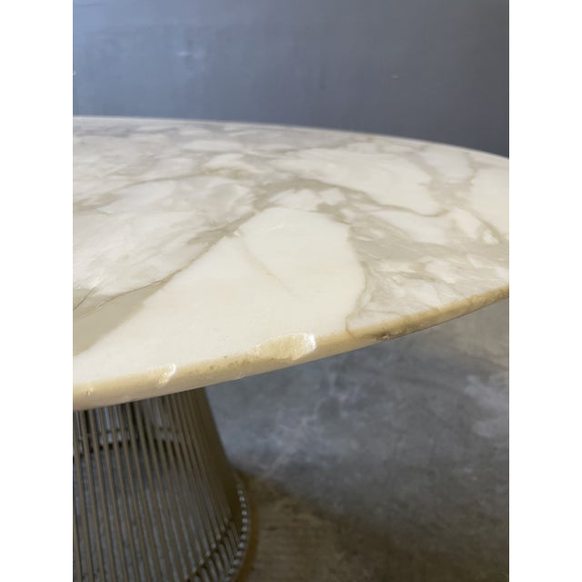 Knoll Chrome and Marble Round Table Designed by Warren Platner for Knoll. For Sale - Image 4 of 13