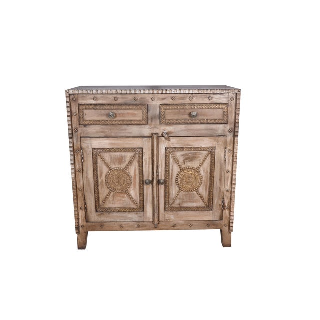 Rustic Booker Two Door Wooden Accent Cabinet For Living Room Storage Chest Natural