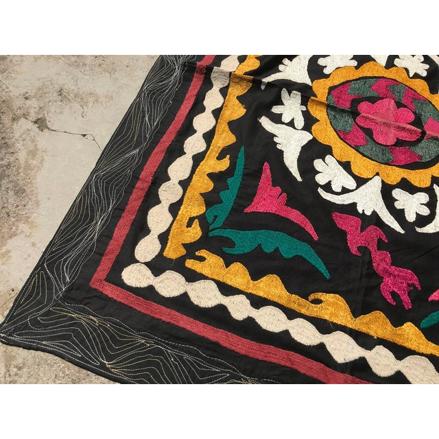 Vintage Small Handmade Suzani Fabric Table Cover For Sale - Image 4 of 7